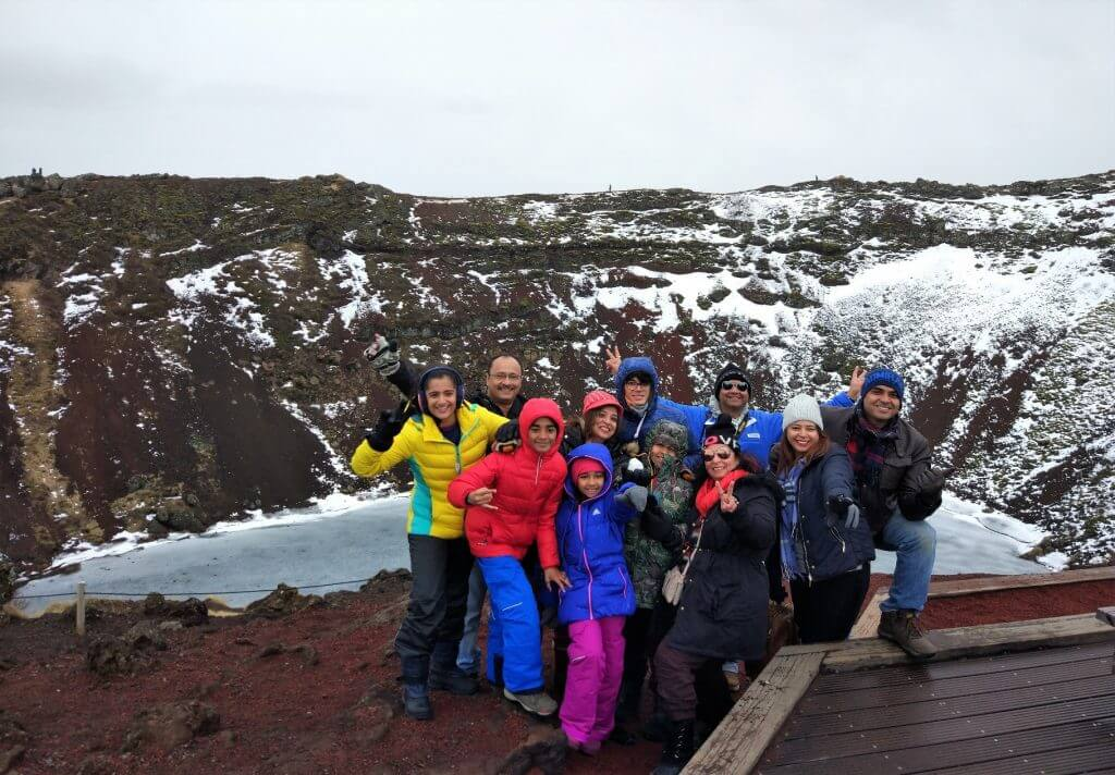 Team at Kerid Crater Lake, Iceland