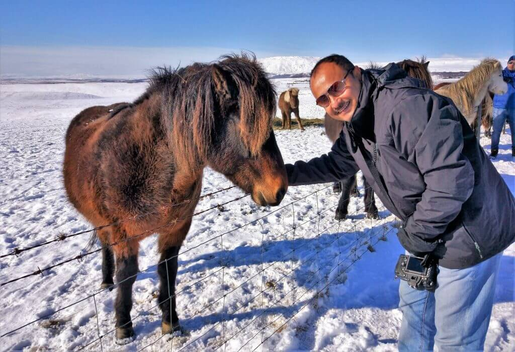 With the horses, Iceland Road Trip