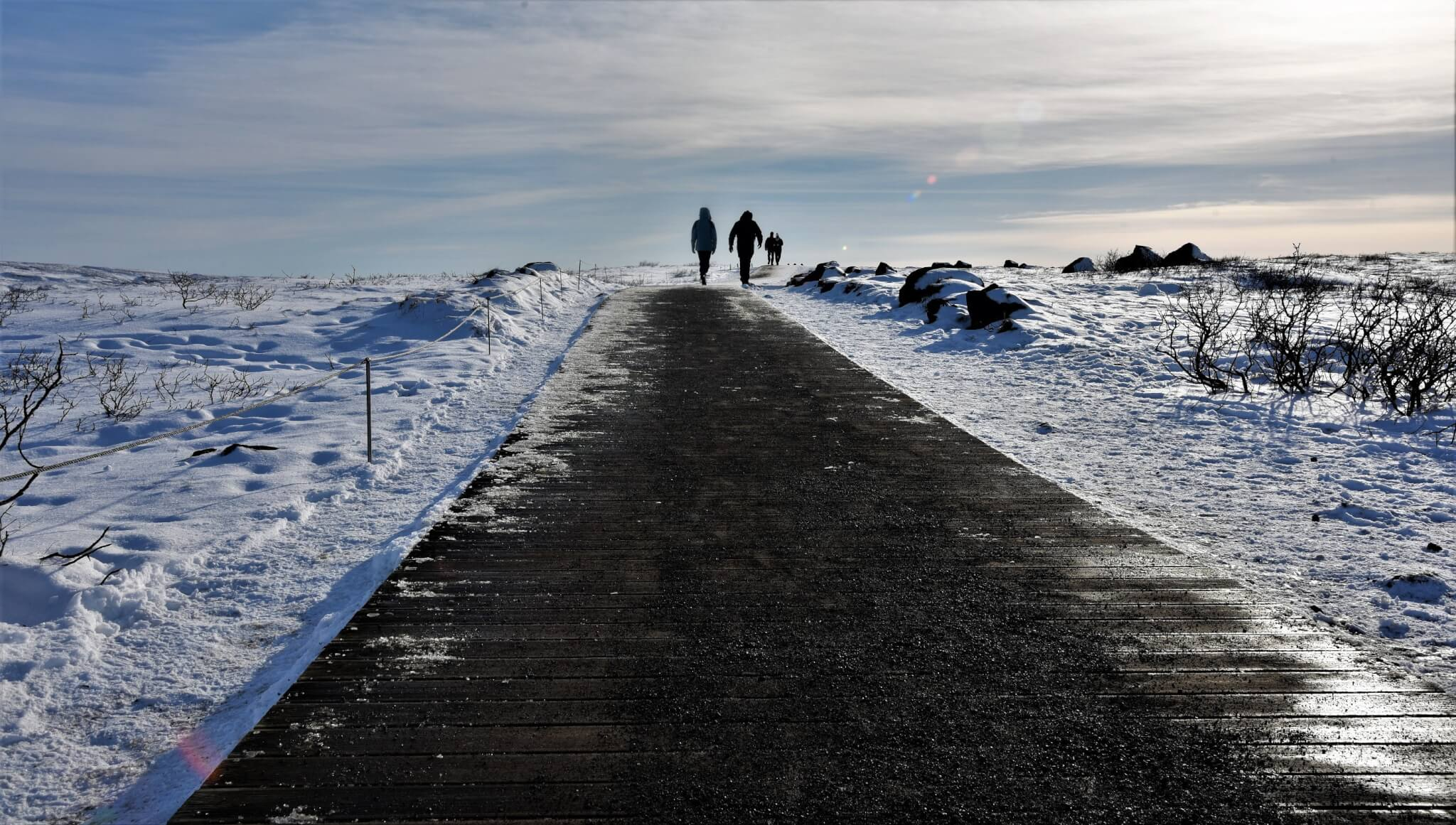 Icy Path towards Gulfoss waterfall. Iceland