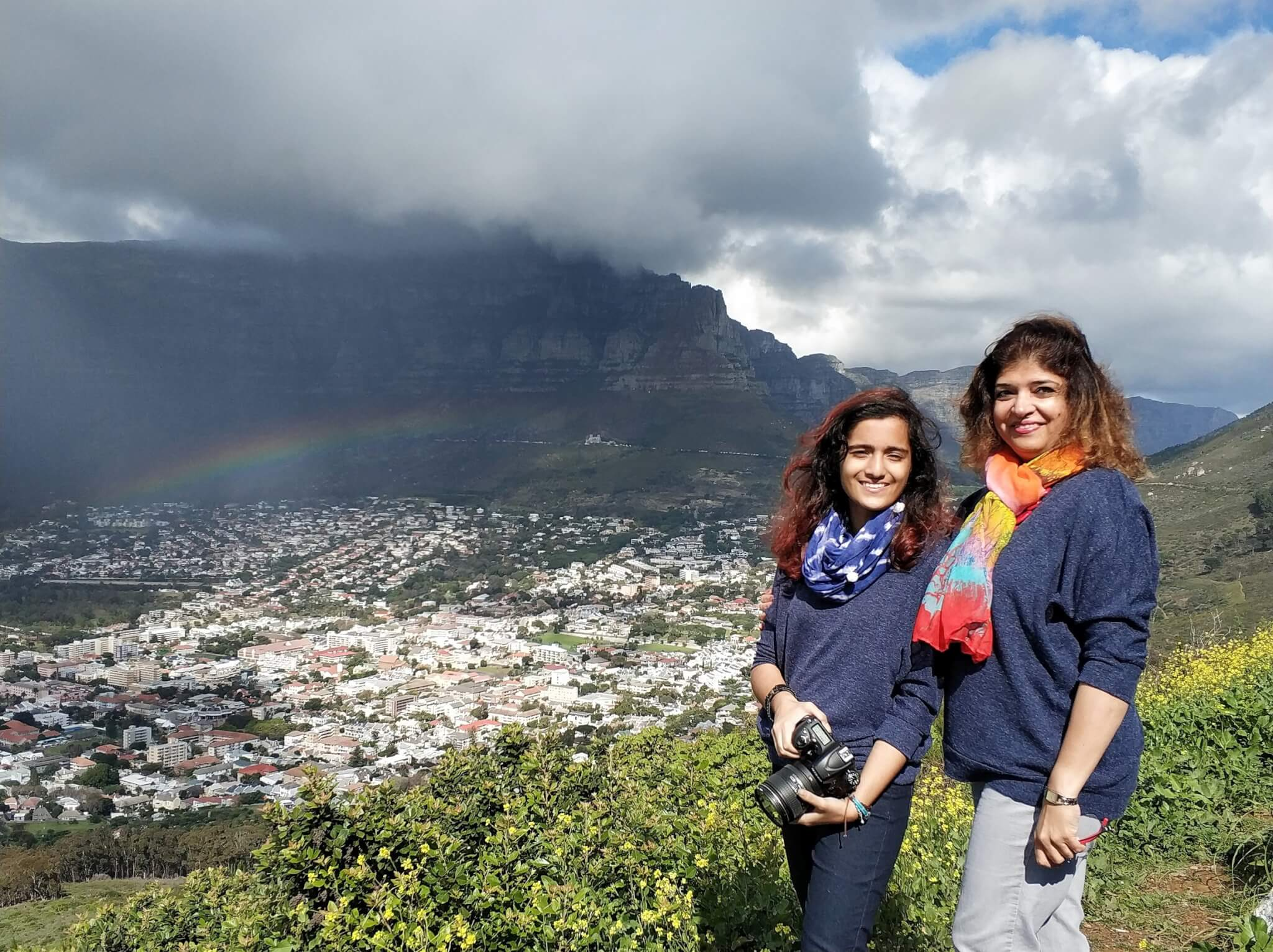 Table Mountain ,Clouds and Rainbow view from Signal Hill
