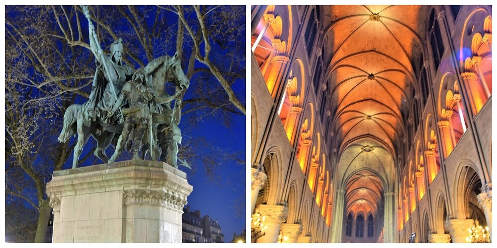 THE STATUE OF CHARLEMAGNE AND INSIDE THE NOTRE DAME