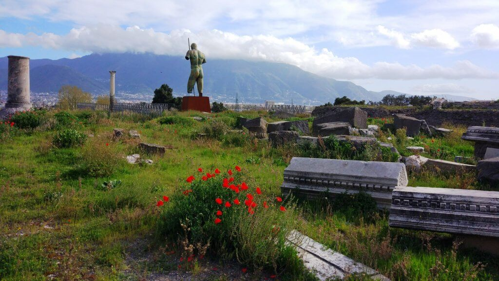 Beautiful grounds of the Pompeii ruins with a view of the Lattari mountains and the Bay of Naples