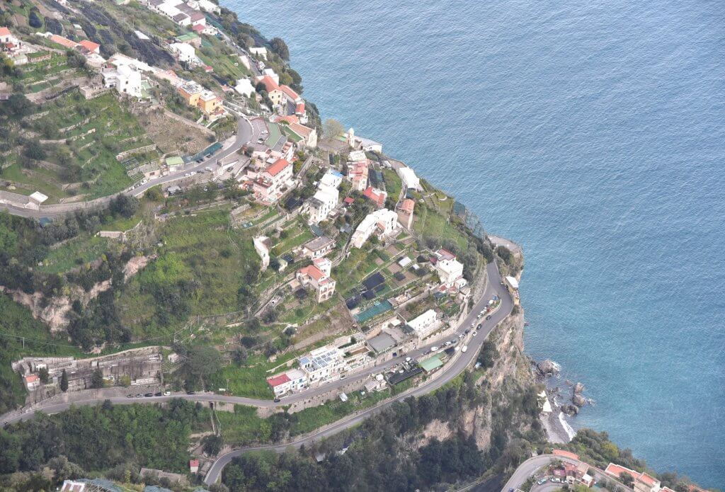 The sharp bends on the road to Amalfi seen from Agerola