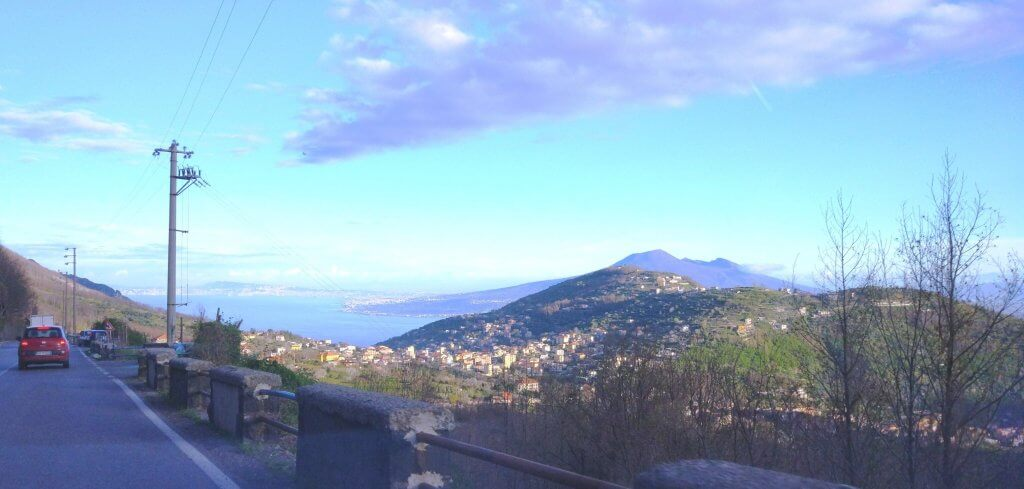 View of Vesuvius on the way to Naples airport