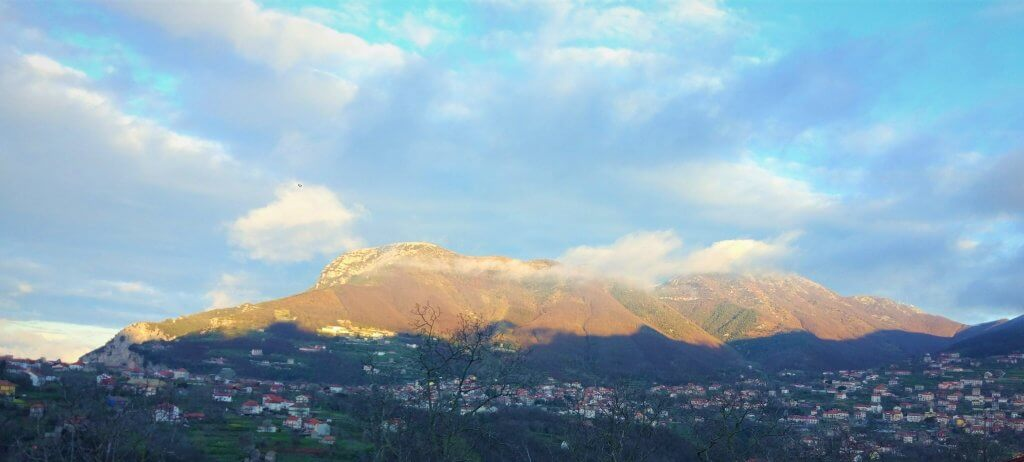 The Lattari mountains from the balcony of our BnB
