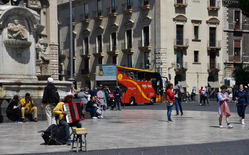 Strolling around at the Piazza Duomo in Catania