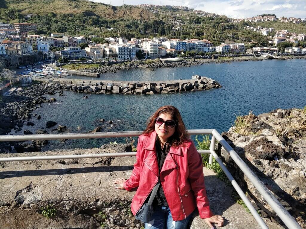 View of Aci Castello town and the Ionian sea